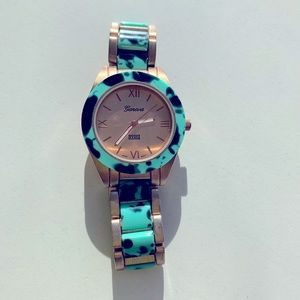 Geneva turquoise & rose gold tortoise shell watch